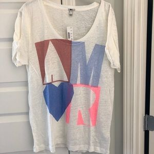 NWT j Crew linen graphic tee large